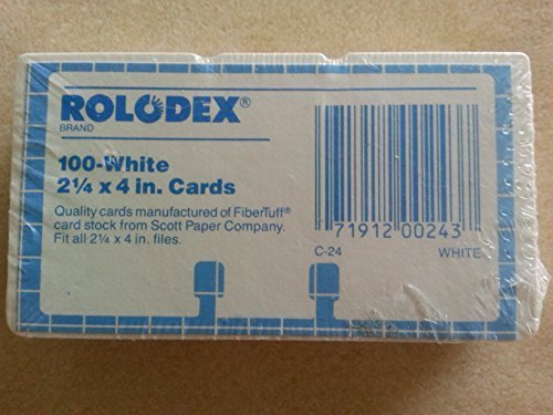 RoloDex 100 White 2 1/4 x 4 inch replacement cards by Rolodex