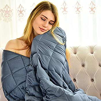 Image of WONAP Bamboo Weighted Blanket Adult | Cooling Touch | 15 lbs | 48'x78' Twin Size | 100% Natural Bamboo Viscose with Premium Glass Beads | Heavy Blanket | Folkstone Grey WONAP B082FQC597 Weighted Blankets