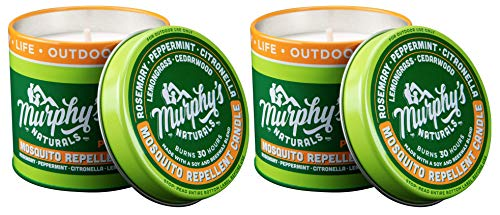 (Murphy's Naturals Mosquito Repellent Candle | Outdoor Citronella Candle for Patio, Yard & Garden | Soy Wax Beeswax, Peppermint, Lemongrass, Rosemary, Cedarwood | Made in USA | 9oz | 2-Pack)