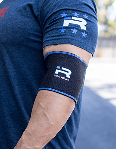 Iron Rebel Elbow Sleeves - Compression Support Powerlifting, Bodybuilding, Training Muscle Recovery Men Women - Black/Blue - 12.5 inch (Pair)