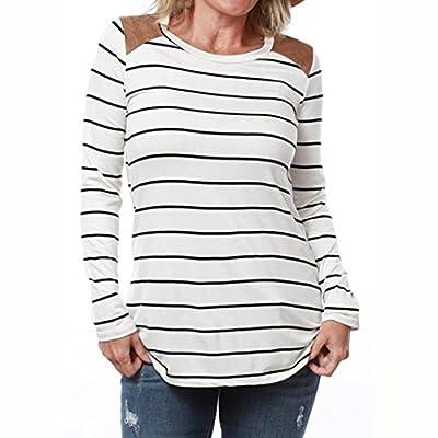 WILLTOO Women Striped Splicing Shirt Long Sleeve Sports Pullover Tops