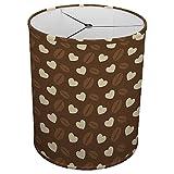Hardback Linen Drum Cylinder Lamp Shade 8'' x 8'' x 8'' Spider Construction [ Coffee Love Heart ]