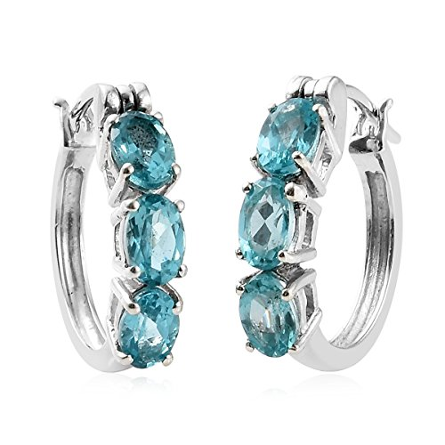 925 Sterling Silver Platinum Plated Oval Apatite Hoop Earring for Women Cttw (Apatite Oval Earrings)