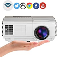 2017 Mini Android WiFi Wireless Projector, LCD Multimedia Pico Portable LED Projector Support Full HD 1080P Miracast Airply for Home Theater Cinema Outdoor Movie Video Games with Built-in Speaker