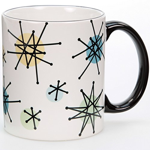 Atomic Starbursts 1950s Pattern White Ceramic Coffee Mug 10 - Pattern Starburst