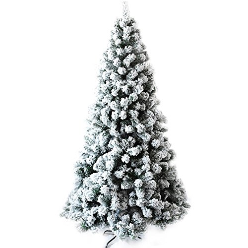 Flocked Christmas Trees - CHICHIC Christmas Tree 7 ft Flocked Snow 1200 Branch Tips with Solid Metal Legs Realistic Faux Xmas Tree Artificial Holiday Full Tree for Christmas Decorations