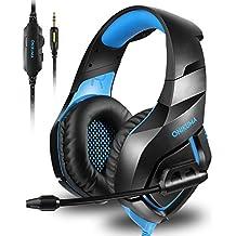 [Patrocinado] onikuma Stereo Gaming Headset para PS4Xbox One, micrófono con cancelación de ruido sobre interruptor de orejas Gaming Auriculares con micrófono para Nintendo Playstation 4Laptop Smartphones y PC, Azul