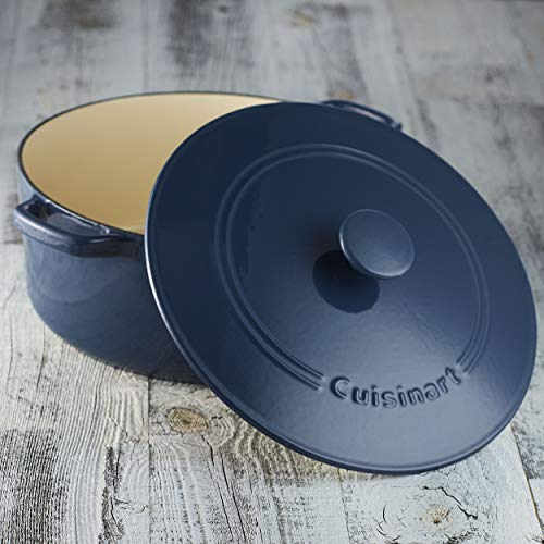 Cuisinart CI670-30BG Chef's Classic Enameled Cast Iron 7-Quart Round Covered Casserole, Provencial Blue by Cuisinart (Image #2)