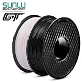 PLA Filament 1.75 mm 3D Printer Filament, 2 kg(4.4 LBS) Spool 3D Printing Filament, Dimensional Accuracy +/- 0.02 mm for 3D Printer and 3D Pen, Black+White