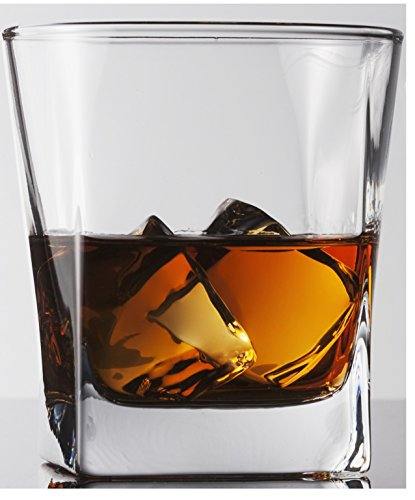 Cube Heavy Base Whiskey Glass, Set of 4, Kitchen Entertainment Drinking Glassware for Water, Juice, Beer and Bar Liquor Dining Decor Beverage Cups Gifts, 10 oz, Square DOF ()