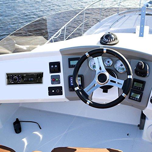 Pyle Bluetooth Marine Receiver Stereo - 12v Single DIN Style Boat In dash Radio Receiver System with Digital LCD, RCA, MP3, USB, SD, AM FM Radio - Remote Control, Wiring Harness - PLRMR27BTB (Black)