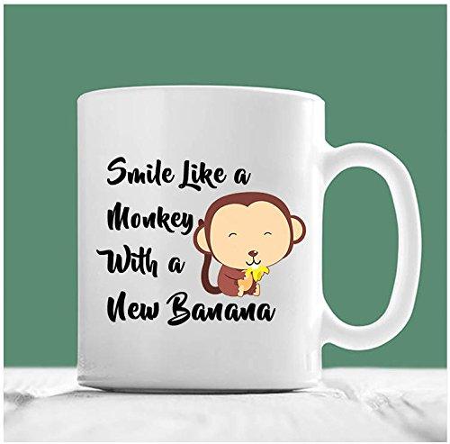 Monkey Mug, Smile Like A Monkey With A New Banana, Monkey Coffee Mug, Monkey Gifts, Gifts For Monkey Lovers, Monkey With Banana, 11oz, 15oz, gift (Bday Monkey)