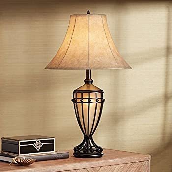 Cardiff traditional table lamp with nightlight urn dark - Traditional table lamps for bedroom ...
