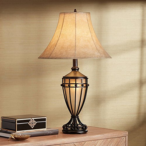 Table Lamp Base Light Night (Cardiff Traditional Table Lamp with Nightlight Urn Dark Iron Bronze Beige Fabric Bell Shade for Living Room Bedroom - Franklin Iron Works)