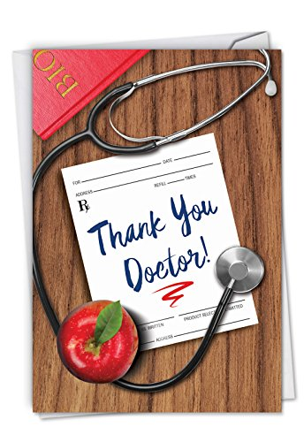 Doctor Gratitude - All Occasion Thank You Card with Envelope (4.63 x 6.75 Inch) - Doctors Visit Appreciation Card from Patient - Life Saved, Thanks Stationery Thank-You Notecard C6351TYG