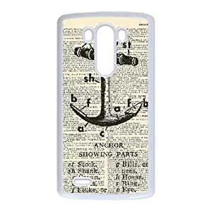 LG G3 White Cases Cell Phone Case Uehfb Navy Stripes Anchor Plastic Durable Cover