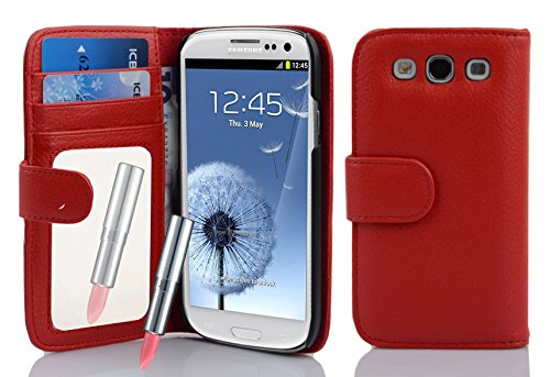 e Wallet Design works with Samsung Galaxy S3/S3 NEO (GT-i9300/GT-i9301) with 2 Card Slots, Mirror and Money Pouch - Etui Case Cover Protection in CANDY-APPLE-RED ()
