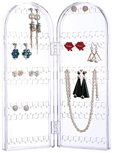 Sooyee 120 Holes 5 Tiers Acrylic Earrings Holder 2 Doors Foldable Necklace Hanging Jewelry Organizer Double Sided Stand Display,Decorative Jewelry Boxes Clear