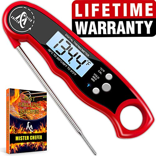 Instant Read Thermometer Best Digital Meat Thermometer Waterproof with Calibration and Backlight ()