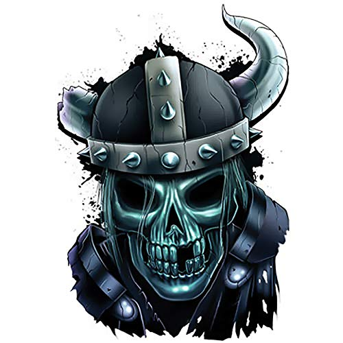 Best Of Skulls Realistic Temporary Tattoo Label, Viking Skull in Helmet, Fake Body Tattoos Stickers, Made in USA