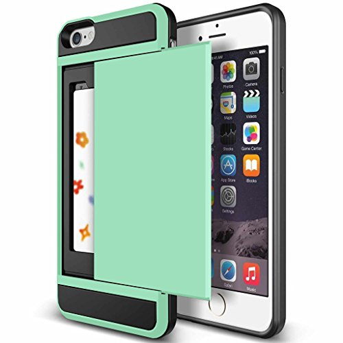 iPhone 5S Case, Anuck Heavy Duty Hybrid Shockproof Armor iPhone 5S Cover [Card Slot Wallet Case] Soft Rubber Bumper Rugged Protective Case Card Holder for Apple iPhone SE / 5S / 5 - Mint Green (Iphone 5 Storage Case compare prices)