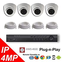 4CH NVR PoE 4K OEM Hikvision LTS Security Surveillance 4MP IP Camera Kit Package 100FT Cable