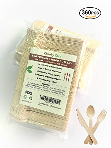 "Wooden Disposable Cutlery 360pc set: 120 Forks, 120 Spoons, 120 Knives, 6"" Length, Eco-Friendly Biodegradable Compostable Natural Utensils for Birthday Party Events Office Holiday BBQ by Cheeky Cool from Cheeky Cool"