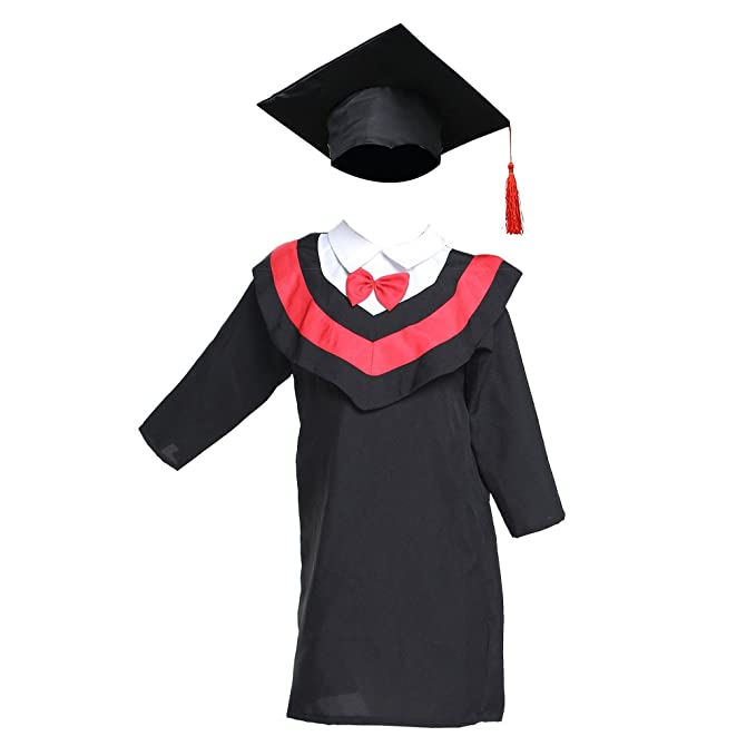 Luoem Toga Y Birrete Sombrero Graduacion Niño Línea Roja