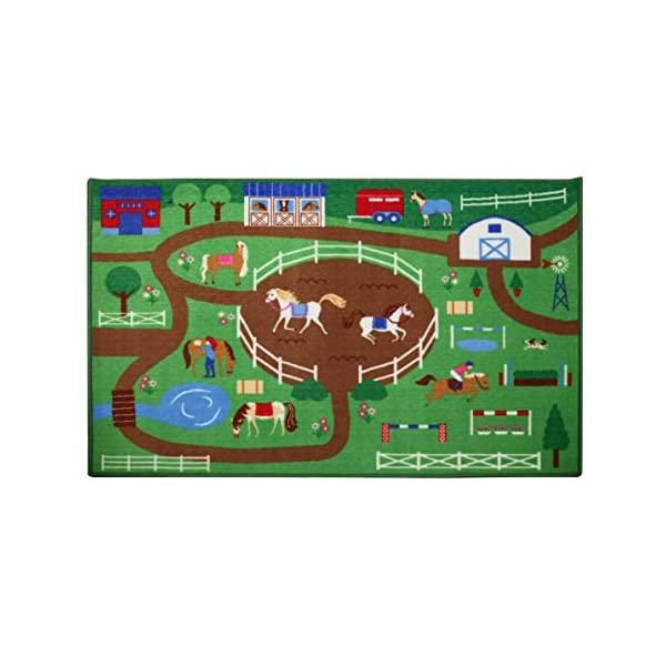 Wildkin Kids Horse Play Educational Play Rug for Boys and Girls, Measures 80×39 Inches, Durable Nylon Material, Features Skid-Proof Backing and Serged Borders, Perfect for Playrooms and Classrooms