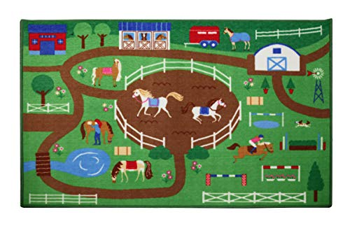 Wildkin 80x39 Inch Play Rug, Features Durable Design, Vibrant Colors, and Skid-Proof Backing, Coordinates with Other Room Décor, Olive Kids Design – Horse - Horse Rug Wash