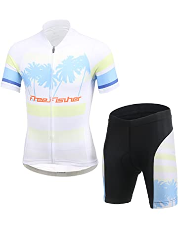 e9aff6d9f CH Q Kids Boys Girls Cycling Jersey Set Short Sleeve Jersey and 3D Padded  Shorts for Mountain