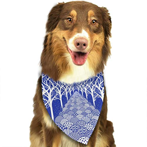Pet Scarf Dog Bandana Bibs Triangle Head Scarfs Tree Art Design Accessories for Cats Baby Puppy ()