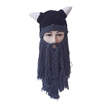 a4f45baa865 FF hat Hats Halloween Autumn Winter Man Cap Handmade Big Beard Personality  Wool Hat (Color