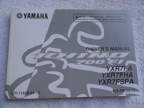 2010 2011 yamaha rhino 700 fi owners manual yxr7fa yxr7fha yxr7fspa rh amazon com yamaha rhino 700 fi owner's manual 2009 2008 yamaha grizzly 700 fi service manual