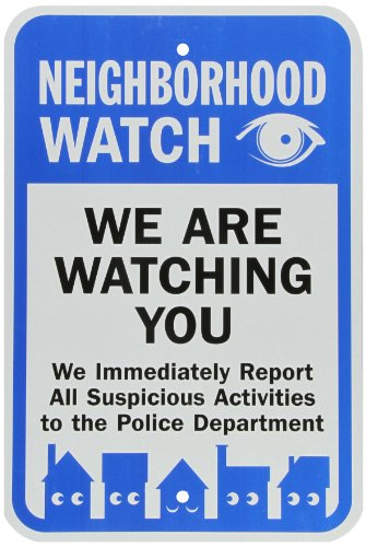"SmartSign 3M Engineer Grade Reflective Sign, Legend ""Neighborhood Watch We Are Watching You"" with Graphic, 18"" high x 12"" wide, Black/Blue on White"