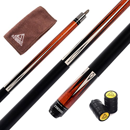 CUESOUL 58 inch 19oz Pool Cue Stick + Cue Joint Protector + Billiard Cue Clean Towel