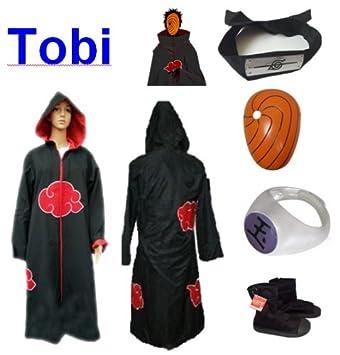 Sunkee Naruto Cosplay Akatsuki Ninja Tobi Traje - Capa con ...