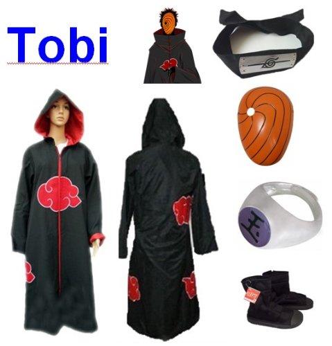 lo último CosJugar Naruto Akatsuki Ninja Ninja Ninja traje de cosJugar Tobi Set - Capa con capucha (XL  Tamaño 177cm-184cm) +Tobi diadema + ninjas Tobi másCochea + Tobi anillo + zapatos  Ahorre hasta un 70% de descuento.