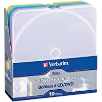 VERBATIM 93804 TRIMPAK CLEAR CD/DVD STORAGE CASES, 10 PK