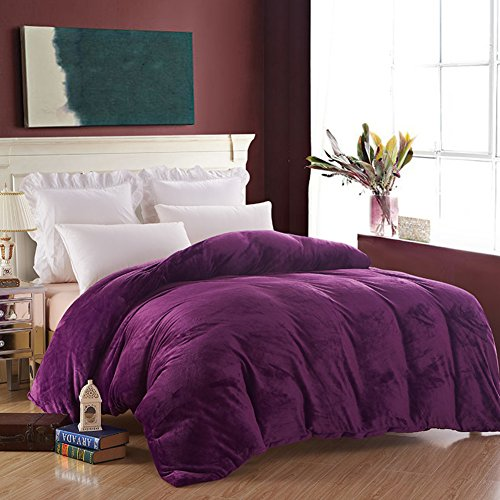LJ-BT Flannel Duvet Covers, Reversible Thick Solid Color Quilt Cover, Single Washed Plush Quilt Cover, Fade-Resistant, Zipper Close-J 220x240cm(87x94inch) by LJ-BT