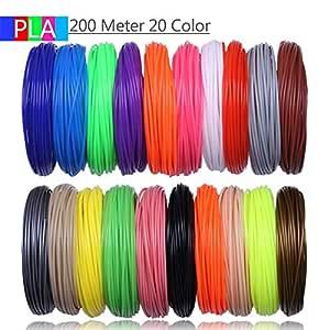 LIU-SHUNBAOAS Filamentos de Impresora 3D 200 Metros 20 Colores ...