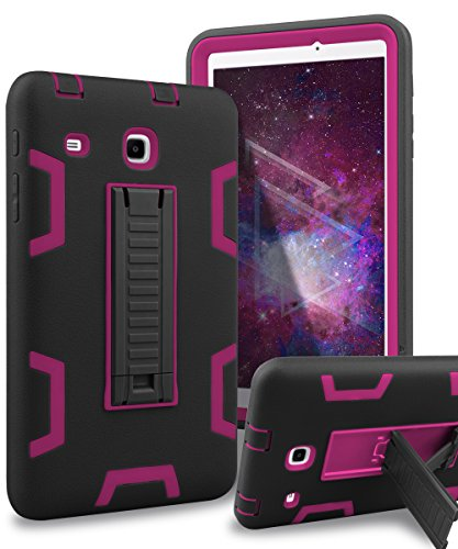 Samsung Galaxy Tab E 8.0 Case,XIQI Three Layer Hybrid Rugged Heavy Duty Shockproof Anti-Slip Case Full Body Protection Cover for Tab E 8.0 inch,Black Hot Pink