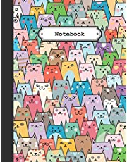 Notebook: Cute Colorful Cats College Ruled Lined Pages (Composition Book, Journal) (8.5 x 11 Large)