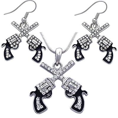 cocojewelry Cowboy Cowgirl Crossing Revolver Gun Pistol Pendant Necklace Hook Earrings Set