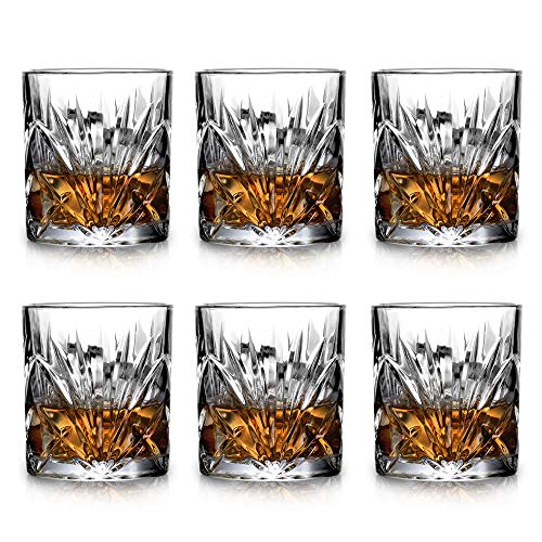 Classical Whiskey Glasses - 10oz Premium Lead Free Crystal Tasting Cups Set Of 6,Rock Style Old Fashioned Glass Tumbler For Drinking Scotch, Bourbon, Cognac, Irish Whisky and Old Fashioned Cocktails. (Best Whiskey For Old Fashioned Cocktail)