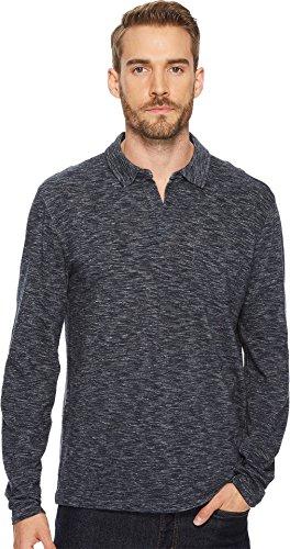 Lucky Brand Men's Long Sleeve Johnny Collar Polo Shirt, Navy, M Long Sleeve Johnny Collar Shirt