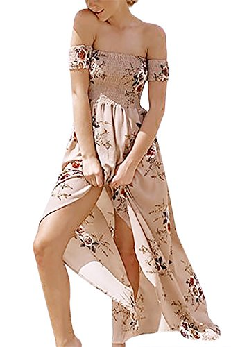 Yidarton Womens Summer Beach Boho Maxi Dresses Chiffon Off the Shoulder Floral Print Split Long Dress with Short Sleeves (Beige, XL)