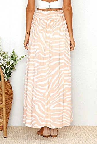 Beach Casual Impression de Jupe Bandage Party Femme avec Plage Fendues Rose Fashions Jupe t Maxi Plisse de Jupes Abricot XPqv85wxR