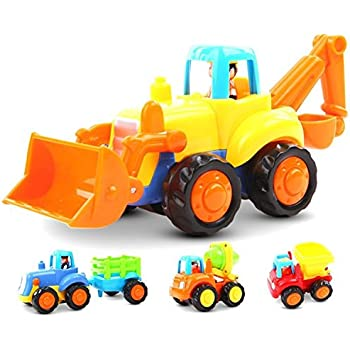 Friction Powered Cars Push And Go Car Construction Vehicles Toys Set Of 4 TractorBulldozer