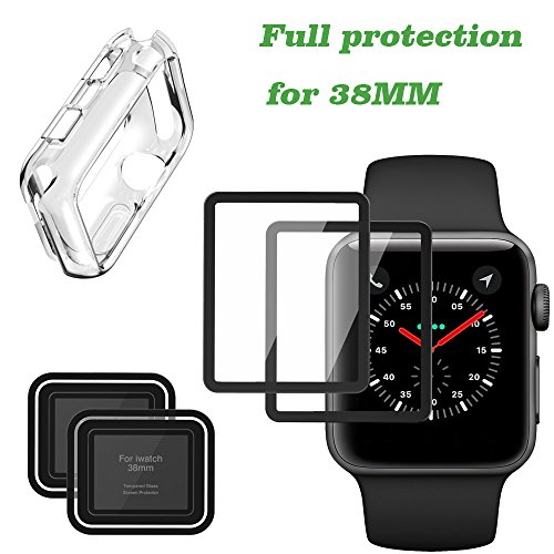 Apple Watch Screen Protector [2-Pack] and Apple iWatch Case for Series 3/2, Full Coverage Iphone Watch Tempered Glass Screen Protector (38mm) by Herozone